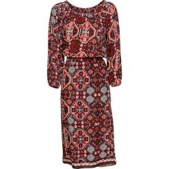 Sukienka bonprix czerwony klonowy - czarny z nadrukiem. Czerwone sukienki z falbanami bonprix, z nadrukiem. Za 79,99 zł.
