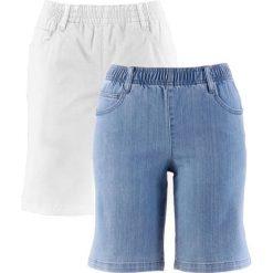 """Szorty ze stretchem (2 pary) bonprix biały + niebieski """"bleached"""". Białe bermudy damskie bonprix. Za 109,98 zł."""