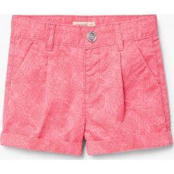 Mango Kids - Szorty dziecięce Apple 80-104 cm. Różowe spodenki dziewczęce marki Mayoral, z bawełny, z okrągłym kołnierzem. Za 59,90 zł.