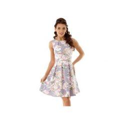 Sukienka kontrafałda szara w kwiaty ED002-10. Szare sukienki balowe marki Ella dora, s, w kwiaty, rozkloszowane. Za 299,00 zł.