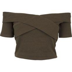 Bluzki, topy, tuniki: Urban Classics Ladies Off Shoulder Cross Rib Tee Koszulka damska oliwkowy