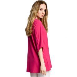 SARITA Zwiewna bluzka z warstwami nachodzącymi na siebie - różowa. Czerwone bluzki asymetryczne Moe, z tkaniny, z asymetrycznym kołnierzem. Za 109,99 zł.