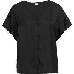 Bluzka z rękawami z falbanami bonprix czarny. Czarne bluzki z odkrytymi ramionami bonprix, z dekoltem w serek, z krótkim rękawem. Za 32,99 zł.