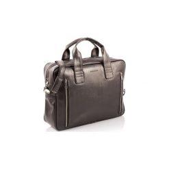Ciemno brązowa skórzana torba na ramię b02, Kolor wnętrza: Czerwony. Brązowe torby na ramię męskie Brødrene, w paski, ze skóry, na ramię. Za 169,00 zł.
