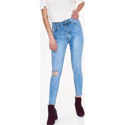 SPODNIE DŁUGIE DAMSKIE RURKI. Szare rurki damskie Top Secret, na jesień, z jeansu. Za 129,99 zł.