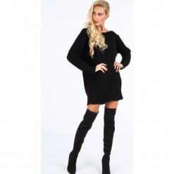 Czarny długi sweter oversize 0207. Czarne swetry oversize damskie Fasardi. Za 89,00 zł.