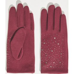 Rękawiczki z aplikacją - Bordowy. Czerwone rękawiczki damskie Sinsay, z aplikacjami. Za 24,99 zł.