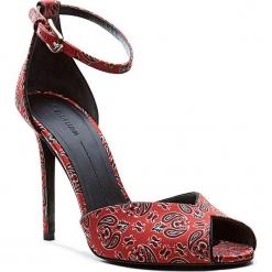 Sandały w kolorze czarno-czerwonym. Czarne sandały damskie Stella Luna, w paski, na obcasie. W wyprzedaży za 545,95 zł.