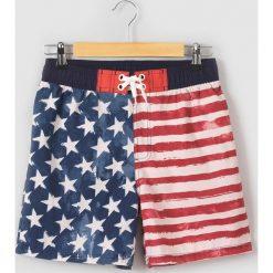 Spodenki pąpielowe z flagą USA 10-16 lat. Szare kąpielówki chłopięce La Redoute Collections, w paski, z materiału, młodzieżowe. Za 82,28 zł.