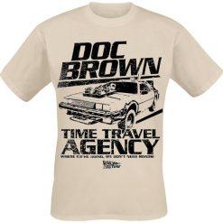 Powrót do przyszłości Doc Brown Time Travel Agency T-Shirt piaskowy. Brązowe t-shirty męskie z nadrukiem Powrót do przyszłości, m, z okrągłym kołnierzem. Za 74,90 zł.