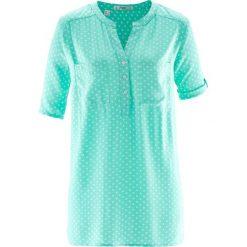 Bluzka tunikowa, krótki rękaw bonprix niebieski mentolowy - biały w kropki. Białe bluzki asymetryczne bonprix, w kropki, z krótkim rękawem. Za 49,99 zł.