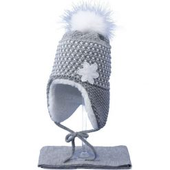 Czapka dziecięca z szalikiem CZ+S 043A szaro-biała r. 48-50. Białe czapeczki niemowlęce Proman. Za 52,11 zł.
