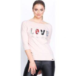 Jasnoróżowa Bluzka Love Beads. Czerwone bluzki asymetryczne Born2be, l, z długim rękawem. Za 39,99 zł.