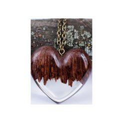 Drewniany naszyjnik w kształcie serca. Brązowe naszyjniki damskie Bewoody. Za 160,00 zł.