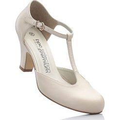 Czółenka skórzane z paskiem bonprix cielisty. Brązowe buty ślubne damskie bonprix. Za 129,99 zł.
