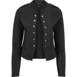 Żakiet dresowy z dekoracyjnymi guzikami bonprix czarny. Czarne marynarki i żakiety damskie bonprix, z dresówki. Za 99,99 zł.