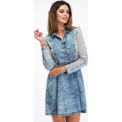 Sukienki: Jeansowa sukienka z dzianiną F256