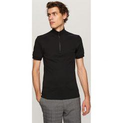 Koszule męskie na spinki: Koszula polo z zamkiem – Czarny
