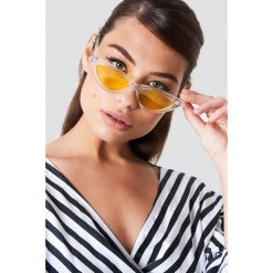 Okulary przeciwsłoneczne damskie aviatory: NA-KD Accessories Transparentne okulary przeciwsłoneczne kocie oczy - Yellow