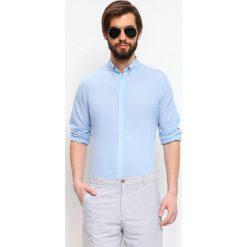 KOSZULA DŁUGI RĘKAW MĘSKA. Szare koszule męskie slim marki Top Secret, m, z klasycznym kołnierzykiem, z długim rękawem. Za 34,99 zł.