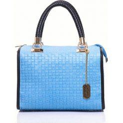 Torebki klasyczne damskie: Skórzana torebka w kolorze błękitno-czarnym – 30 x 26 x 17 cm
