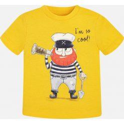 Mayoral - T-shirt dziecięcy 68-98 cm. Żółte t-shirty męskie z nadrukiem Mayoral, z bawełny. Za 49,90 zł.