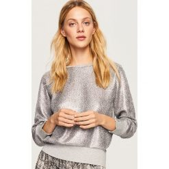 Srebrna bluza - Srebrny. Białe bluzy damskie marki Reserved, l, z dzianiny. Za 99,99 zł.