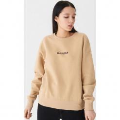 Bluza z napisem - Beżowy. Czarne bluzy damskie marki Reserved, l, z napisami. Za 69,99 zł.
