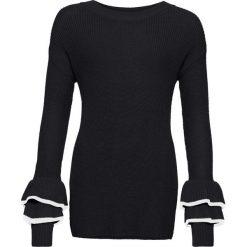 Sweter dzianinowy bonprix czarno-biały. Niebieskie swetry klasyczne damskie marki DOMYOS, z elastanu, street, z okrągłym kołnierzem. Za 89,99 zł.