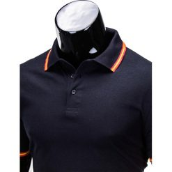 KOSZULKA MĘSKA POLO BEZ NADRUKU S709 - GRANATOWA. Zielone koszulki polo marki Ombre Clothing, na zimę, m, z bawełny, z kapturem. Za 39,00 zł.