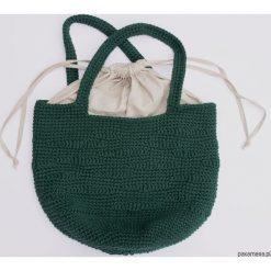 Szydełkowa zielona torebka z falistym ażurem. Zielone torebki klasyczne damskie Pakamera, w ażurowe wzory, z bawełny. Za 259,00 zł.
