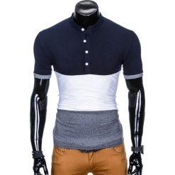 T-shirty męskie: T-SHIRT MĘSKI BEZ NADRUKU S875 – GRANATOWY/GRAFITOWY