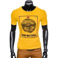 T-SHIRT MĘSKI Z NADRUKIEM S928 - ŻÓŁTY. Żółte t-shirty męskie z nadrukiem marki Ombre Clothing, m. Za 29,00 zł.