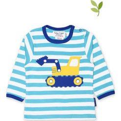 Koszulka w kolorze niebiesko-białym. Białe bluzki dziewczęce bawełniane Toby Tiger, w paski, z okrągłym kołnierzem, z długim rękawem. W wyprzedaży za 85,95 zł.