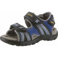 GEOX Kids Buty otwarte  niebieski / żółty / czarny. Czarne buciki niemowlęce geox kids, z materiału, z otwartym noskiem, na rzepy. Za 273,00 zł.