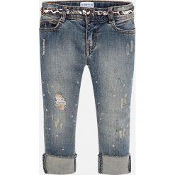 Mayoral - Jeansy dziecięce 92-134 cm. Niebieskie rurki dziewczęce Mayoral, z aplikacjami, z bawełny. Za 139,90 zł.