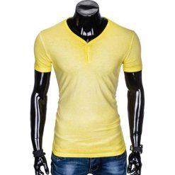 T-shirty męskie: T-SHIRT MĘSKI BEZ NADRUKU S894 - ŻÓŁTY