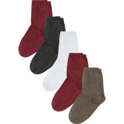 Skarpetki damskie: Skarpetki damskie (5 par) bonprix czerwono-czarno-oliwkowo-biały – srebrny z połyskiem