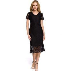 Sukienka z koronką moe275. Czarne sukienki koktajlowe marki Moe, xl, w koronkowe wzory, z koronki, z dekoltem w serek. Za 169,90 zł.