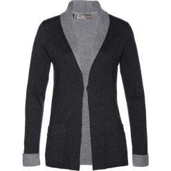 Kardigany damskie: Sweter rozpinany bonprix antracytowy melanż - szary melanż