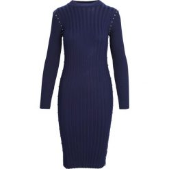Granatowa Sukienka Young Night. Niebieskie sukienki dzianinowe marki Born2be, na jesień, l. Za 79,99 zł.
