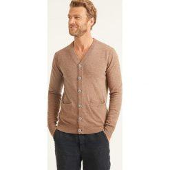 Swetry rozpinane męskie: Wełniany kardigan w kolorze jasnobrązowym