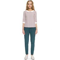 Bluzka z Białym Kołnierzykiem i Mankietami - Model 3. Brązowe bluzki z odkrytymi ramionami Molly.pl, l, z nadrukiem, z jeansu, biznesowe, z wykładanym kołnierzem. Za 108,90 zł.