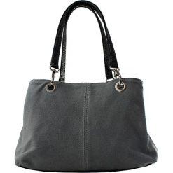 Torebki i plecaki damskie: Skórzana torebka w kolorze szarym – 32 x 20 x 14 cm