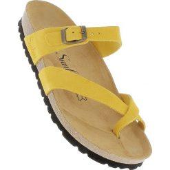 Chodaki damskie: Skórzane japonki w kolorze żółtym