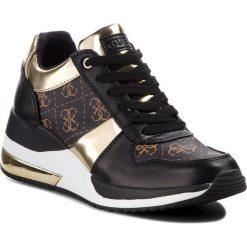Sneakersy GUESS - FLJAT4 FAL12 BROWN. Czarne sneakersy damskie Guess, z materiału. Za 529,00 zł.