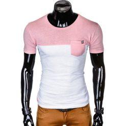 T-SHIRT MĘSKI Z NADRUKIEM S1014 - RÓŻOWY/BIAŁY. Czarne t-shirty męskie z nadrukiem marki Ombre Clothing, m, z bawełny, z kapturem. Za 35,00 zł.