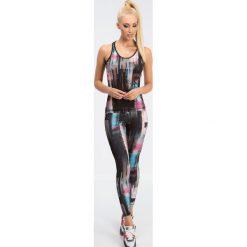 Legginsy: Czarne legginsy w kolorowe wzory H001