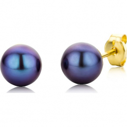 Złote kolczyki-wkrętki z perłami. Niebieskie kolczyki damskie REVONI, z perłą, złote. W wyprzedaży za 172,95 zł.