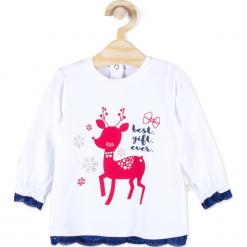 Koszulka. Białe bluzki dziewczęce bawełniane Merry Christmas, w koronkowe wzory. Za 45,90 zł.